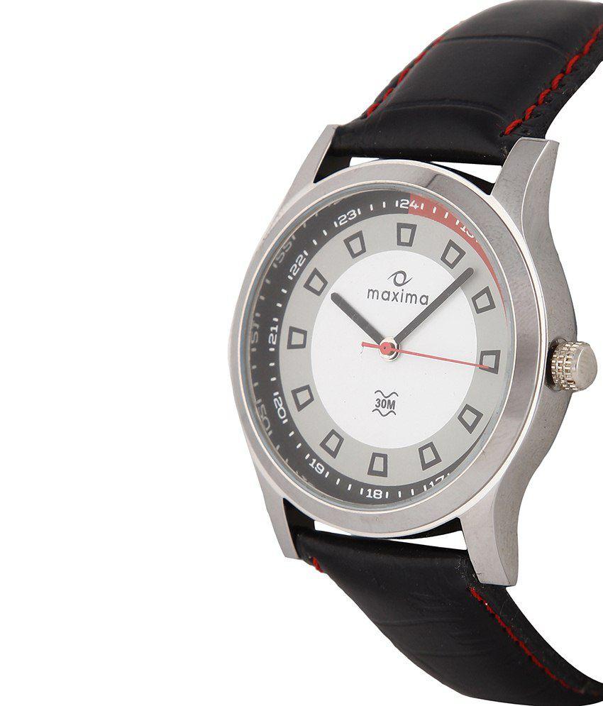 Maxima Black Leather Wrist Watch For Men - Buy Maxima ...
