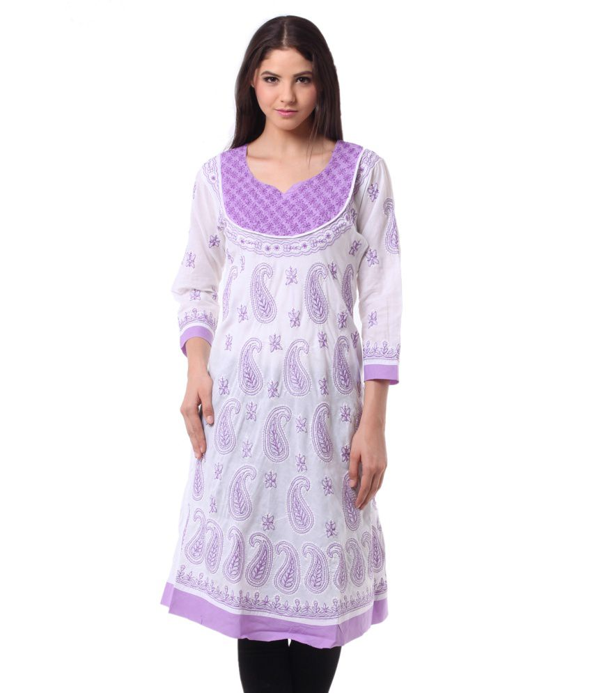 Saadgi Purple Asymmetrical Hemline Cotton Kurti