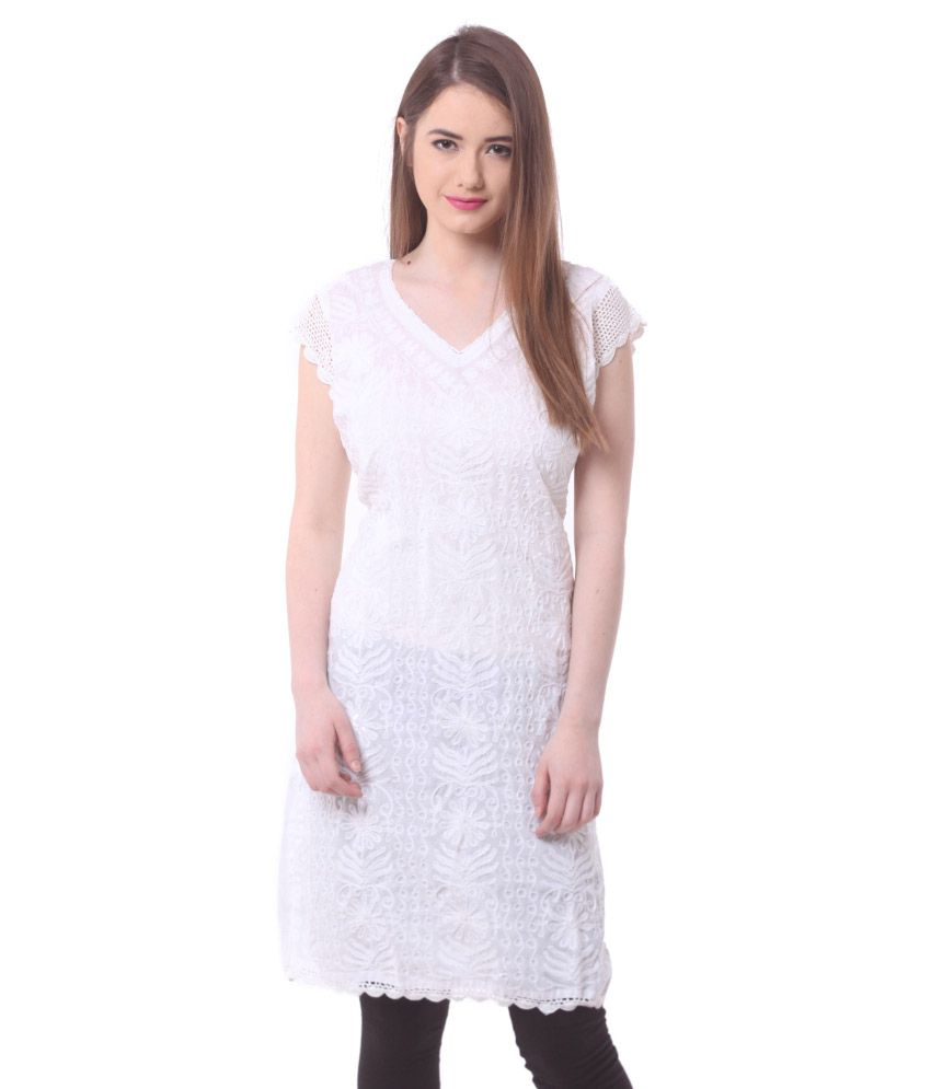 Saadgi White Straight Cotton Kurti