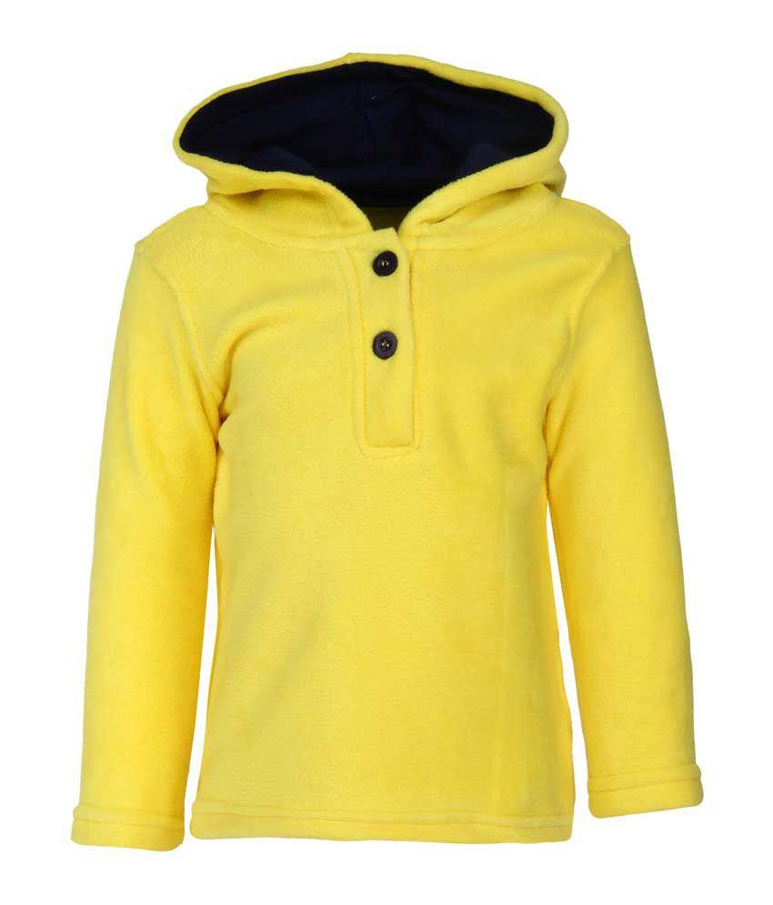 Nino Bambino Yellow Polyester Buttoned Sweatshirt