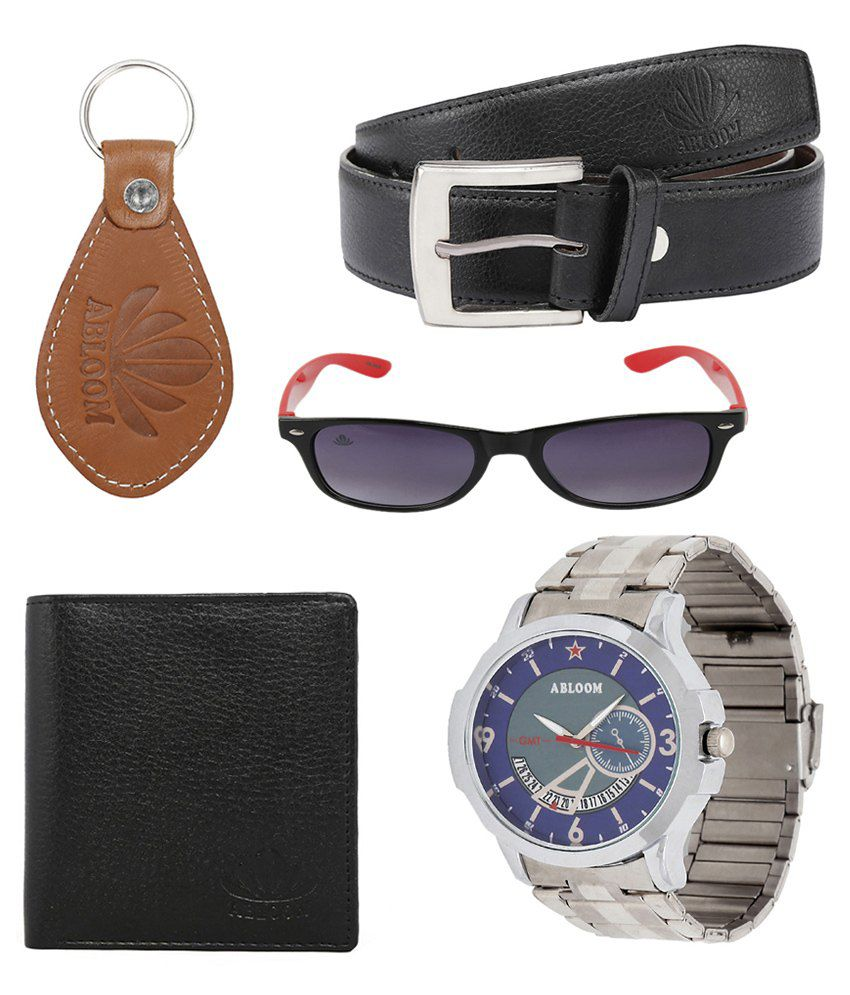 Abloom Combo Of Black Leather Belt, Wallet, Watch, Sunglass & Key Holder For Men