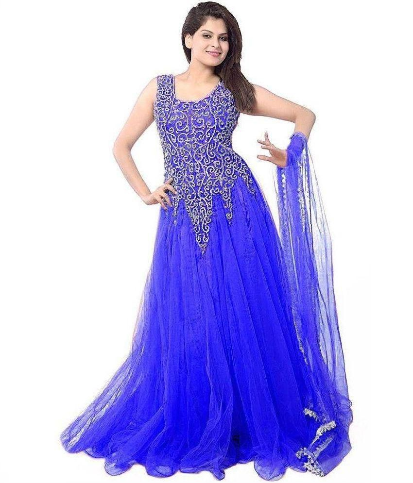 Hansh Women 39 S Fashion Hub Blue Chiffon Anarkali Semi Stitched Dress Material Buy Hansh Women 39 S