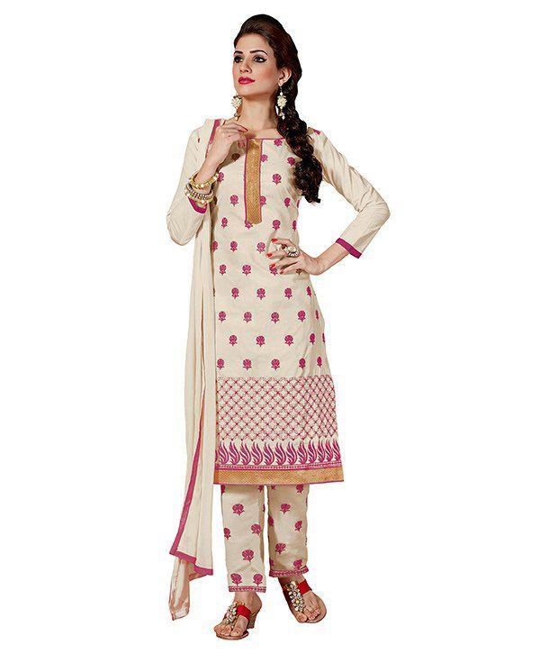 Blissta White Cotton Regular Dress Material