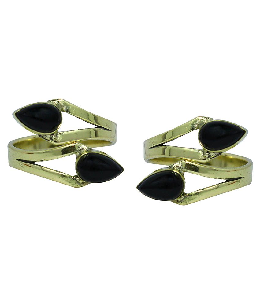 Ranvijay Black Cappuccino German Silver Free Size Toe Ring