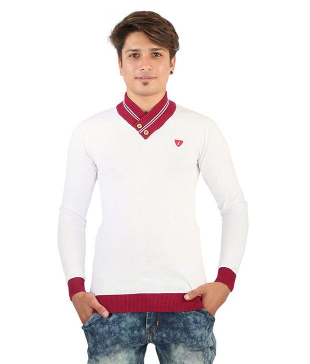 Chill Mill Fashion White V-Neck T Shirts Single