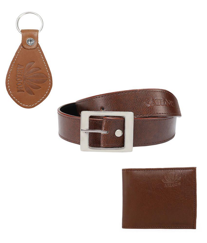 Abloom Brown PU Belts Wallets Set Belts