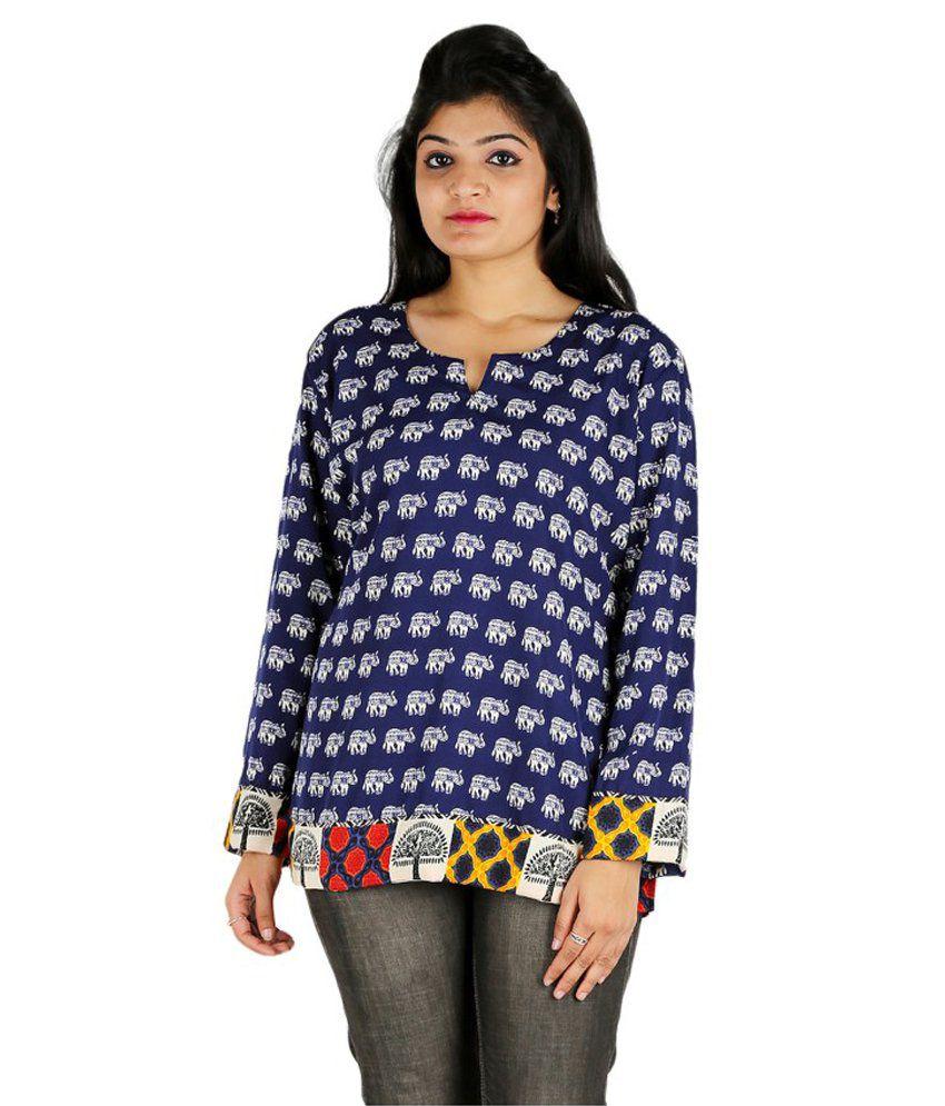 Collectible India Blue Straight Poly Rayon Kurti