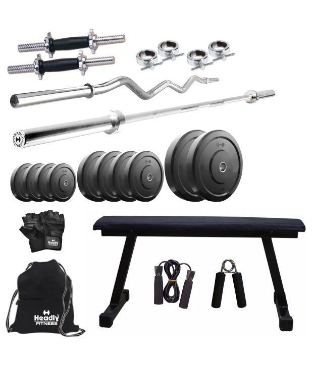 Headly 25 kg home gym 14 inch dumbbells flat bench 2 rods gym