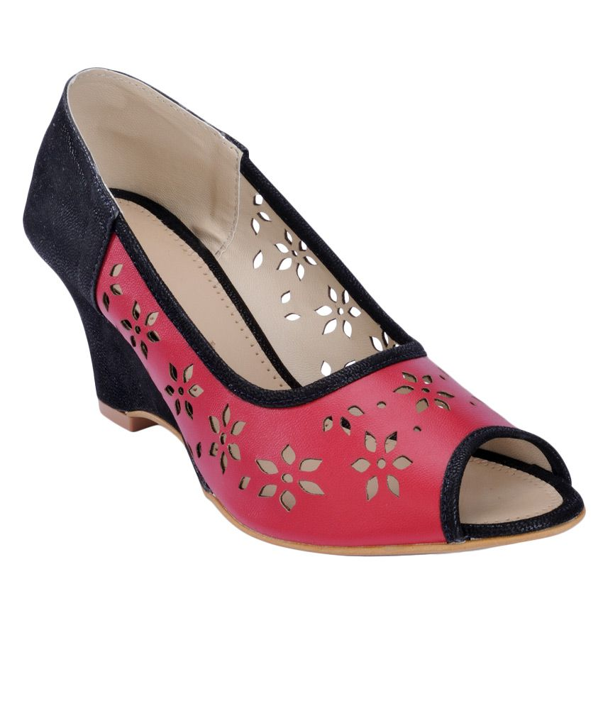 Nell Red Heeled Slip-Ons