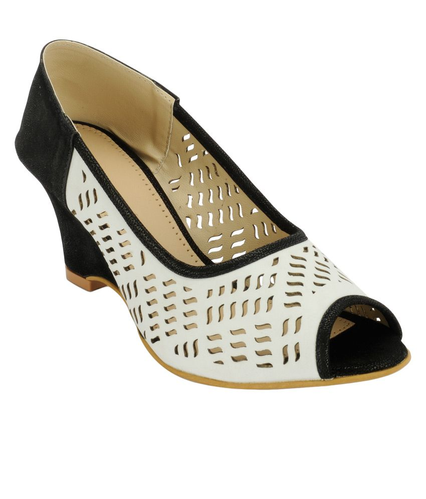 Nell White Heeled Slip-Ons