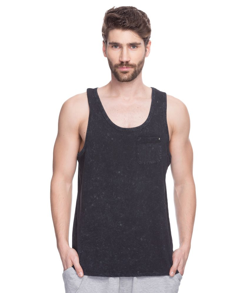 Spykar Black Round Neck T-Shirt