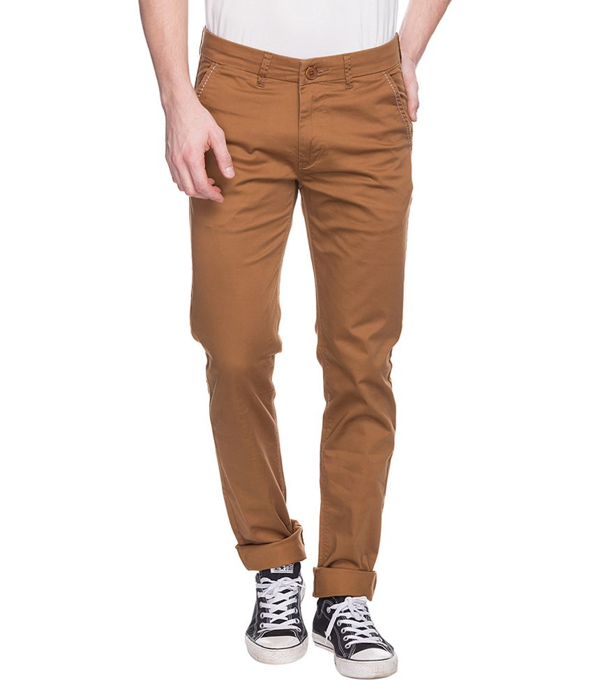 Spykar Brown Slim Fit Trousers