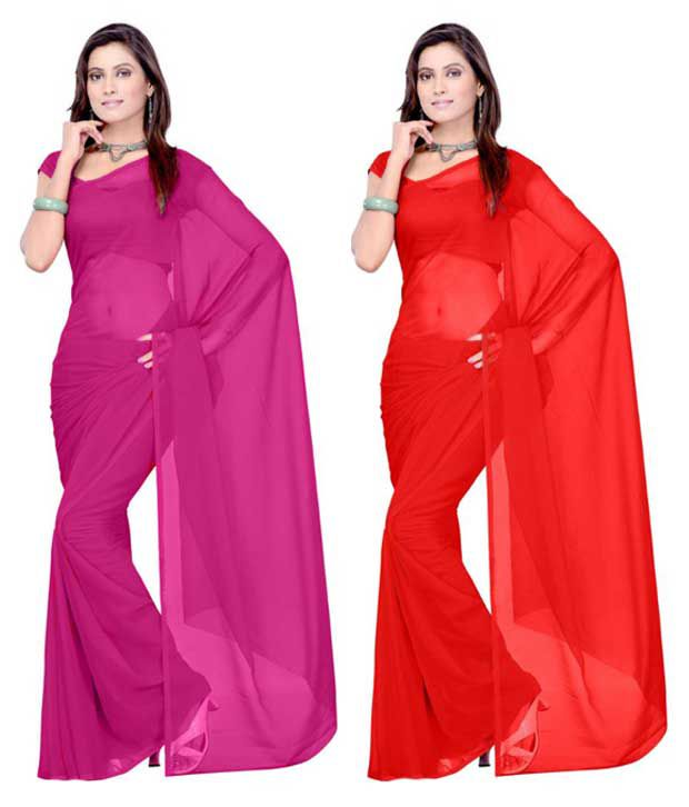 Jai Bharat Multi Georgette Pack of 2