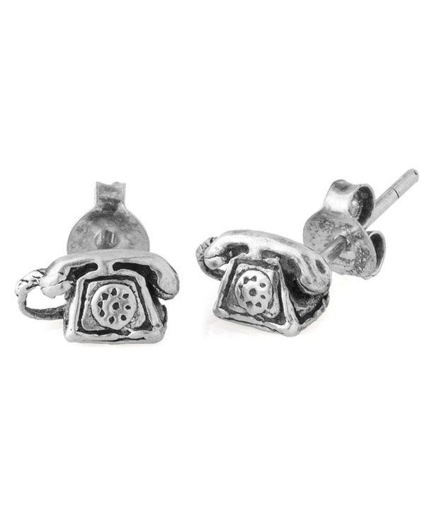 Factorywala Silver Alloy Stud Earrings