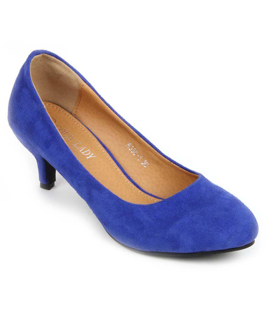 Gold Lady Blue Kitten Heels