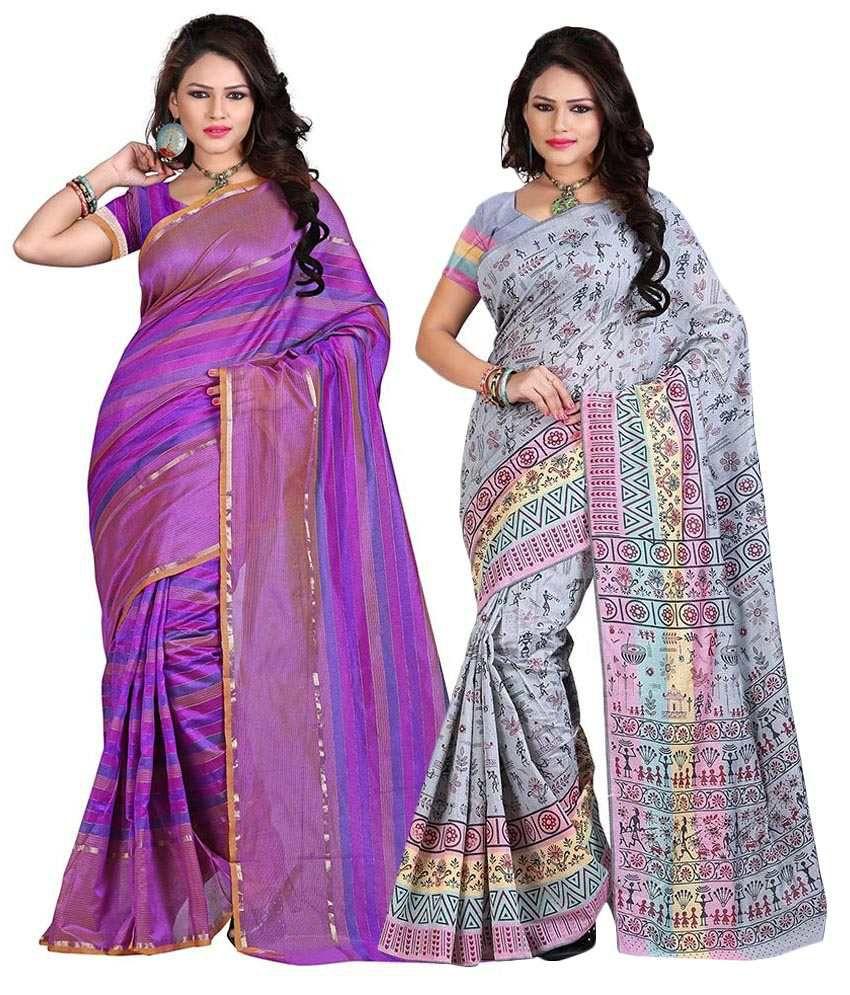 Sareeshop Designer Sarees Gray & Purple Cotton Silk Pack Of 2
