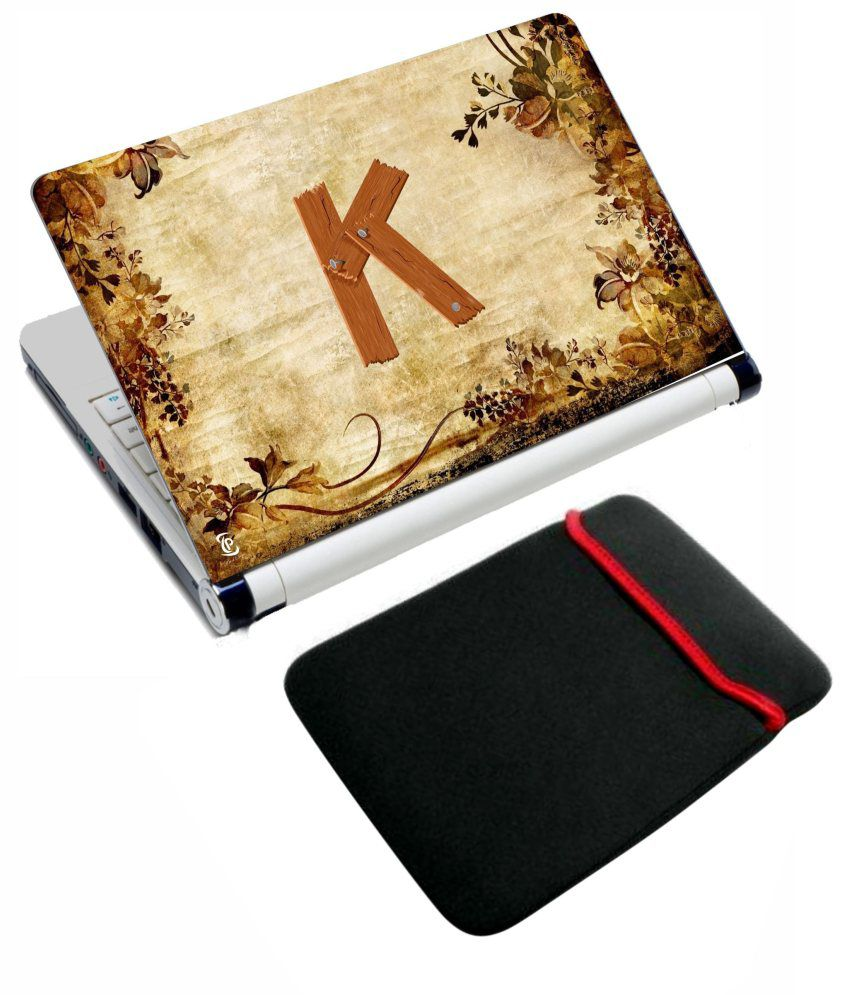 Print Shapes Print Shapes Alphabet K Laptop Skin With Reversible Laptop Sleeve
