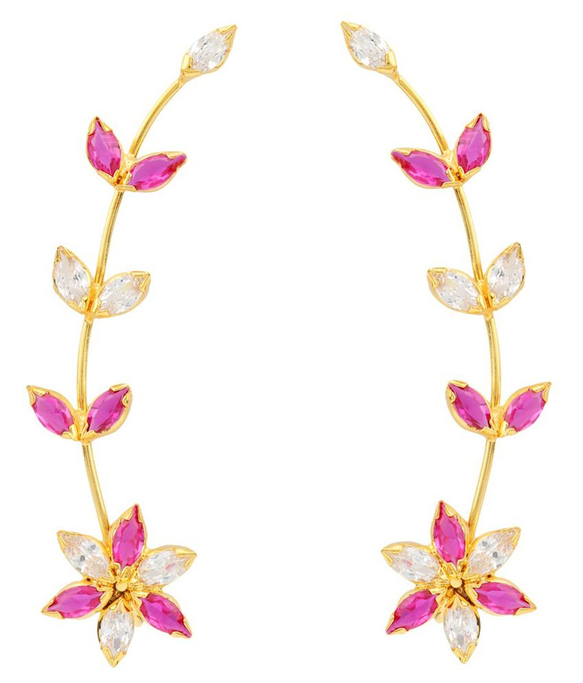 Adiva Pink Alloy Ear Cuffs