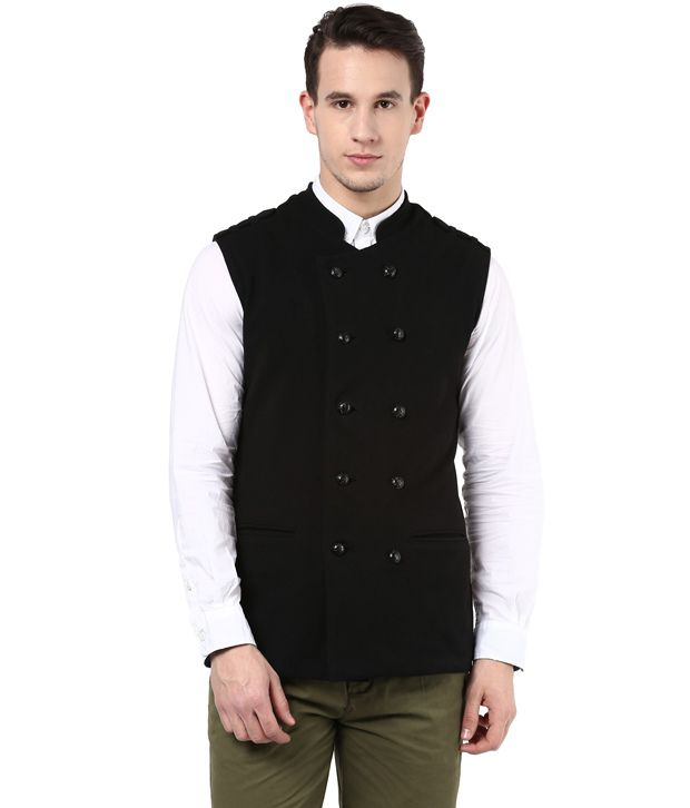 Hypernation Black Color Cotton Waistcoat