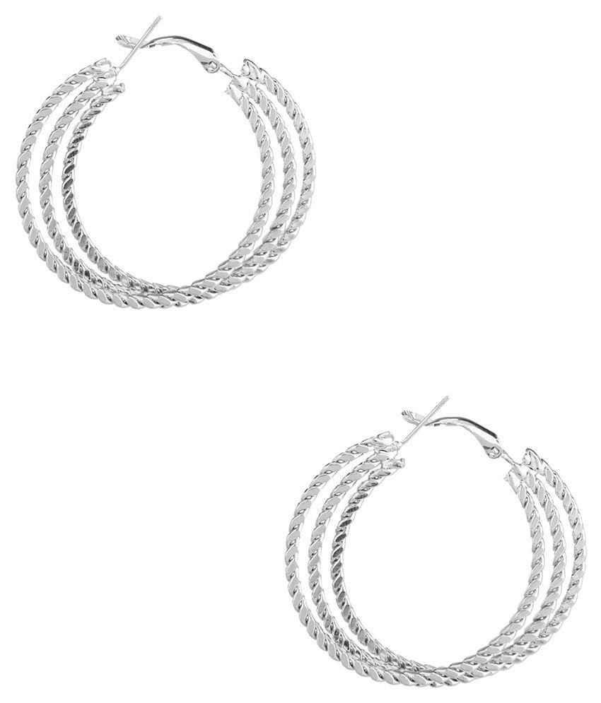 Voylla Silver Alloy Hoop Earrings