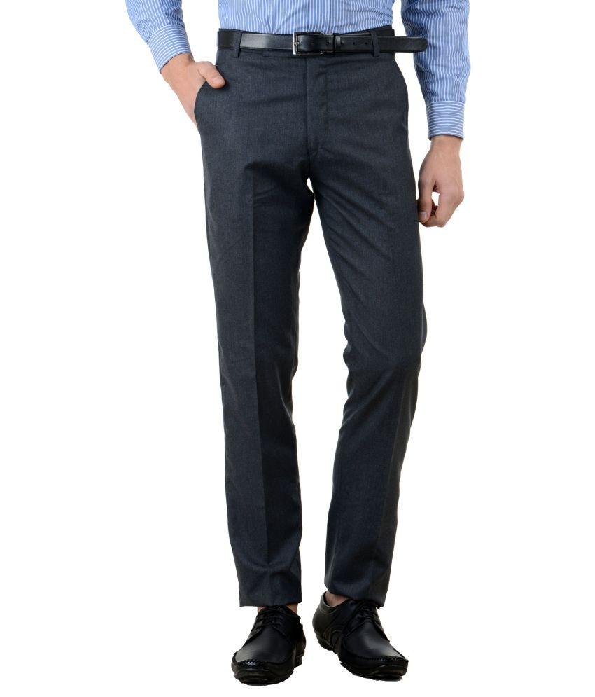 American-Elm Blue Slim Fit Flat Trousers Single