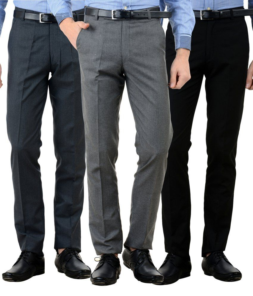 American-Elm Multi Slim Fit Flat Trousers Pack of 3
