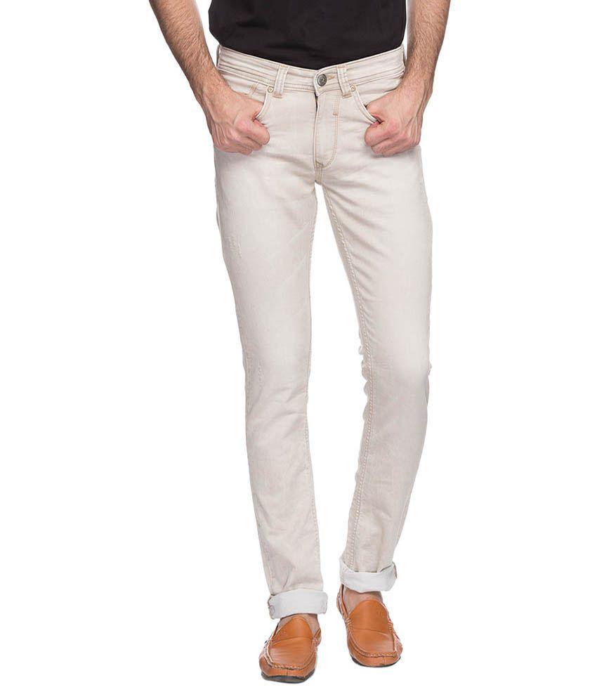 Spykar Beige Skinny Fit Jeans No