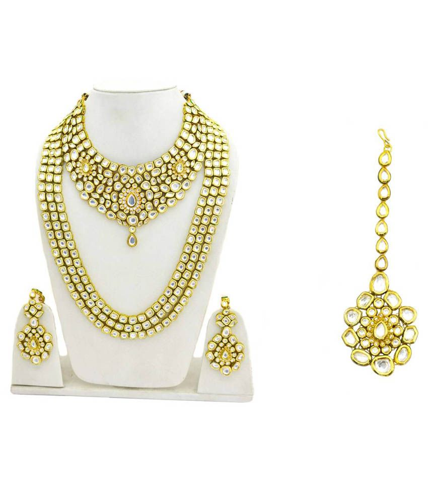 Dilan Jewels Yellow 92.5 Silver Complete Bridal Necklace Set