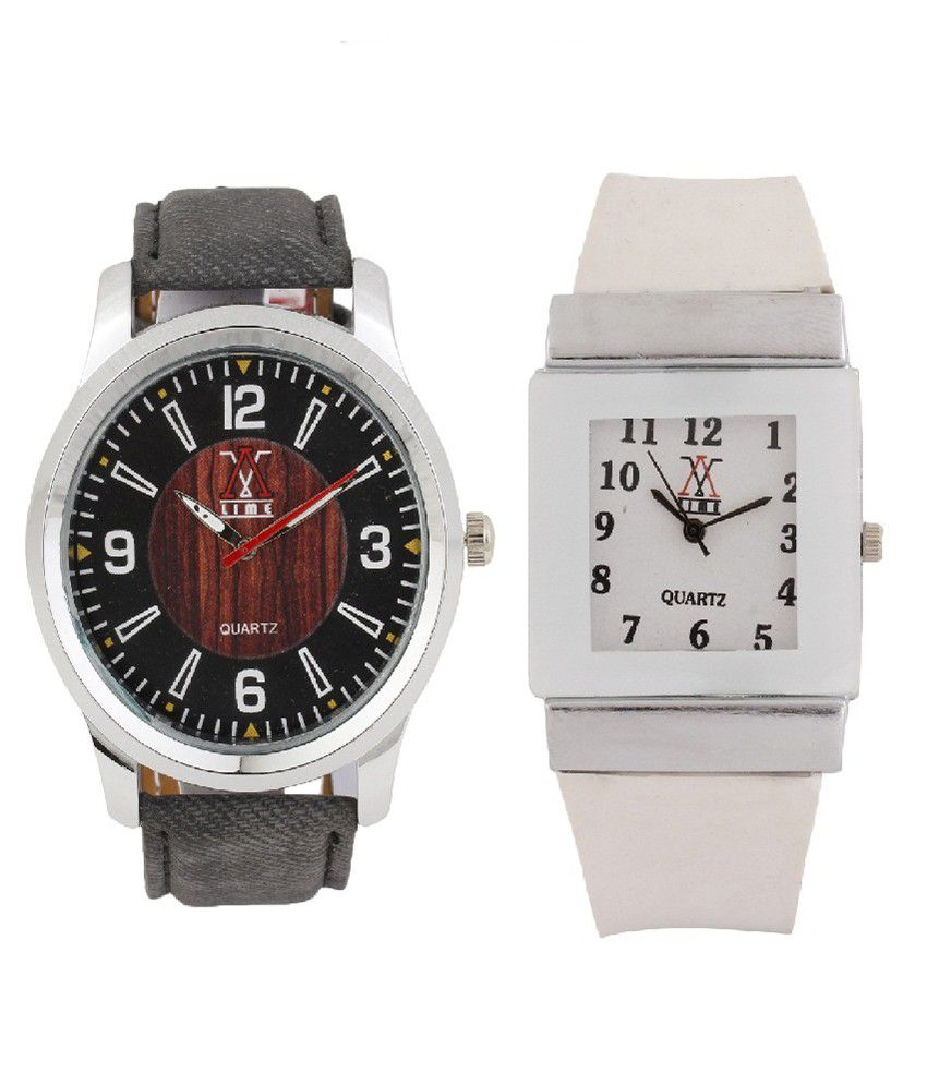 Lime Black and White Leather Analog Couple Watch