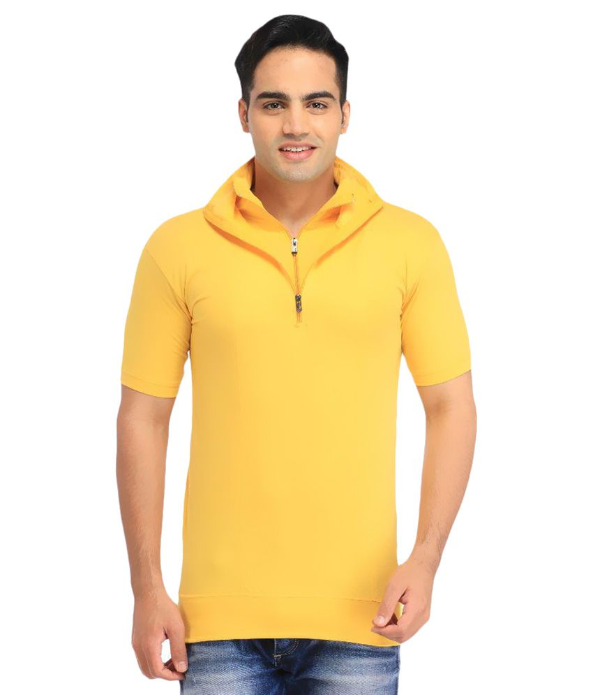 Tees Collection Yellow V-Neck T Shirts No