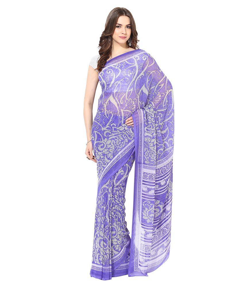 Tanishaa Purple Chiffon Saree