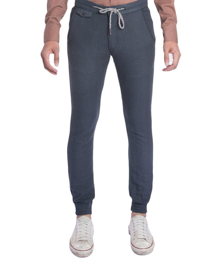 Ovanna Blue Slim Fit Flat Trousers No