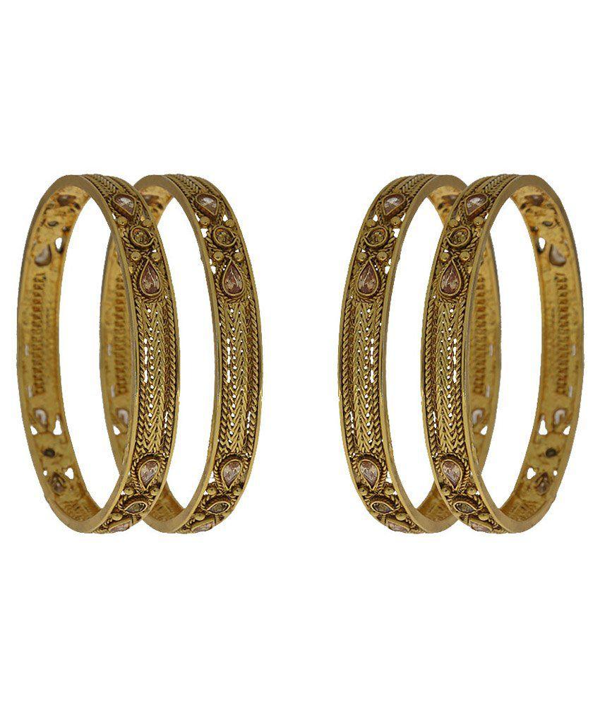 Anuradha Art Golden Copper Bangles Set Of 4
