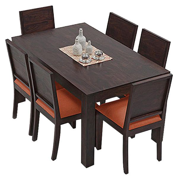 ethnic india art vienna 6 seater sheesham wood dining set with table