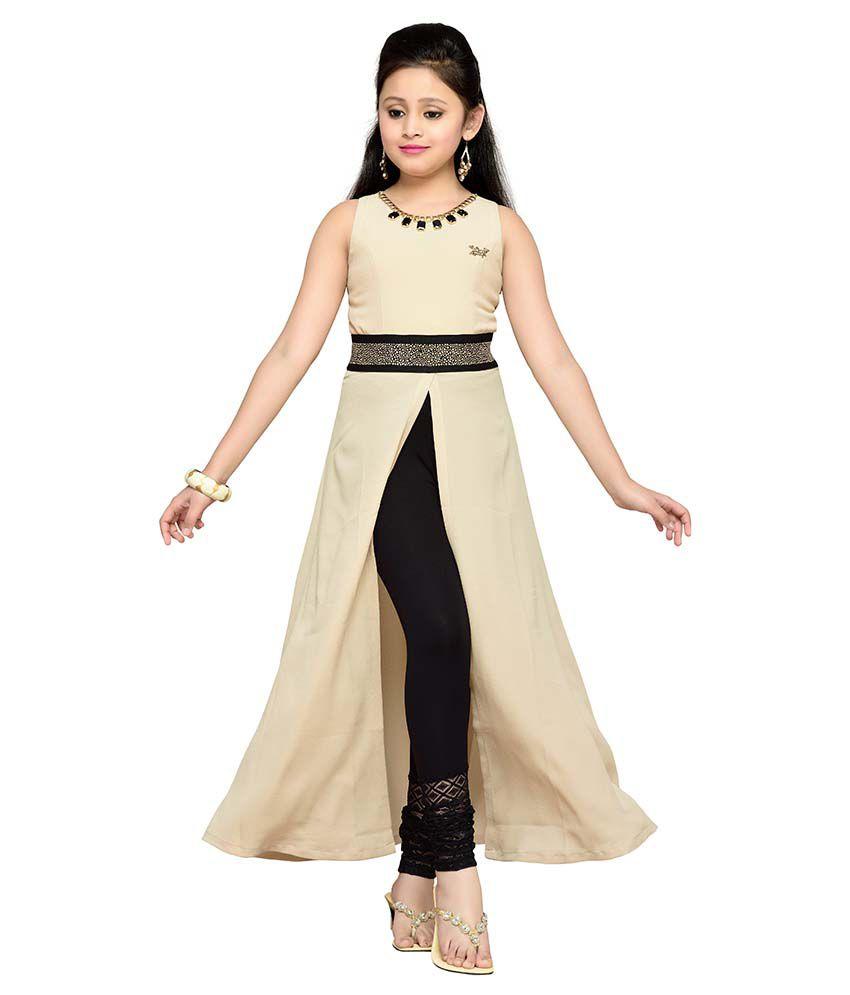Dresses For Girls: Hunny Bunny Beige Dresses For Girls