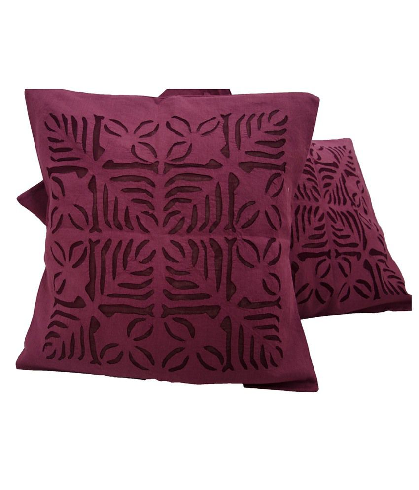 Navrang Red Cotton Cushion Cover Pack Of 3