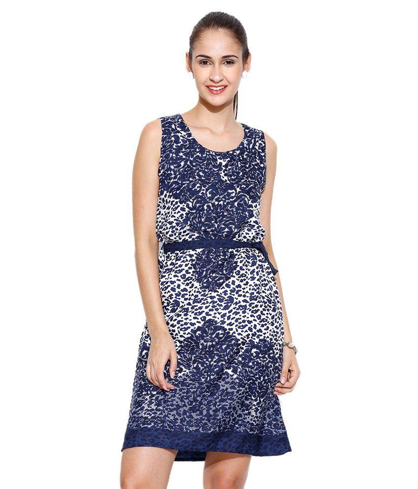 U&F Navy Polyester Dresses