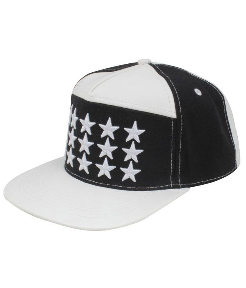 Fabseasons Black and White Cotton Baseball Cap