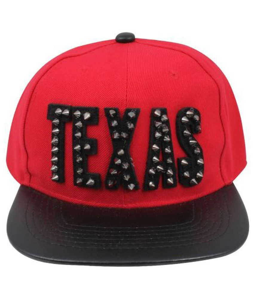 Fabseasons Red and Black Cotton Baseball Cap