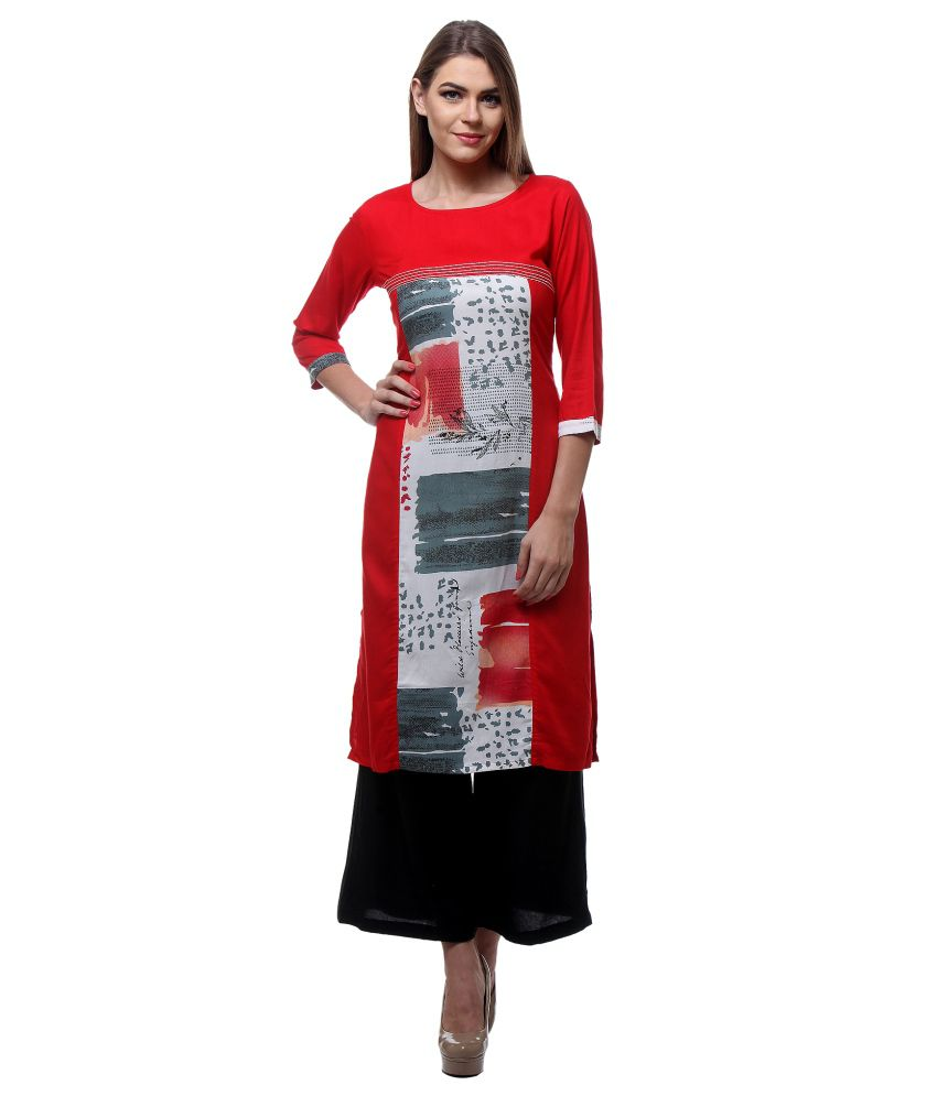 Riti Riwaz Multi Color Straight Poly Rayon Kurti