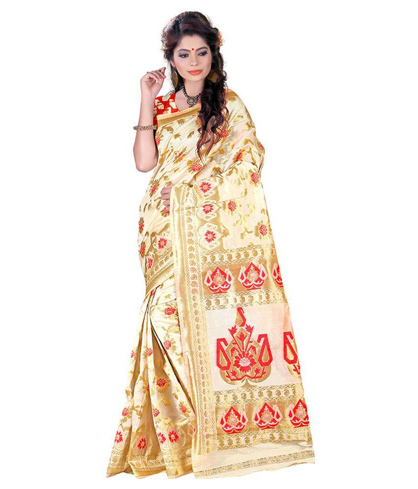 Nysha Creation Beige Silk Saree