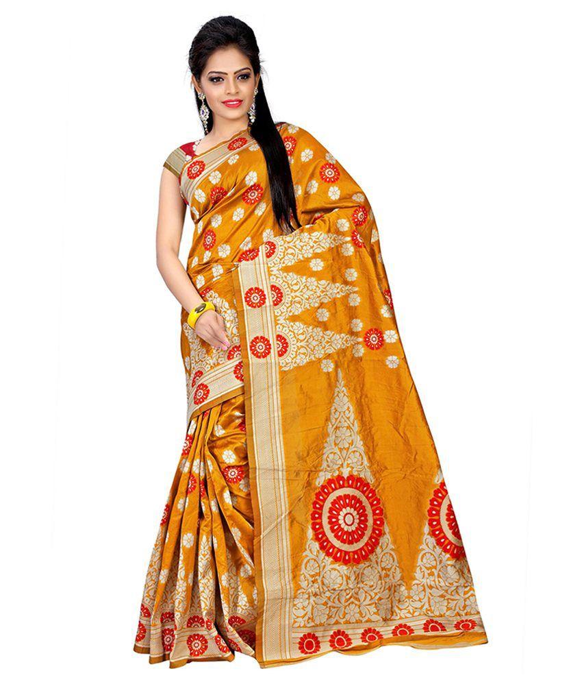 Nysha Creation Orange Silk Saree