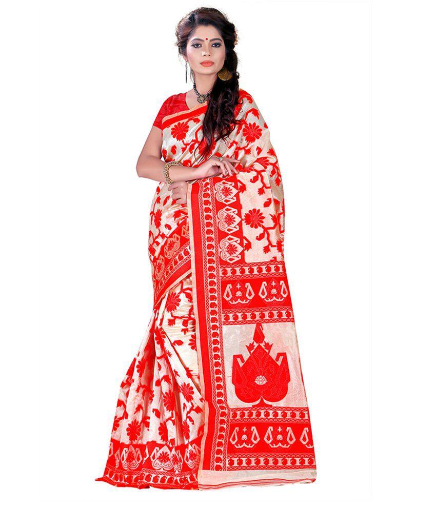 Nysha Creation Red Silk Saree