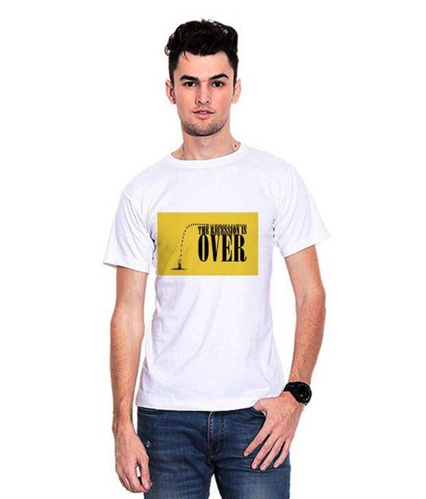 Dealnearn White Round Neck T-shirt