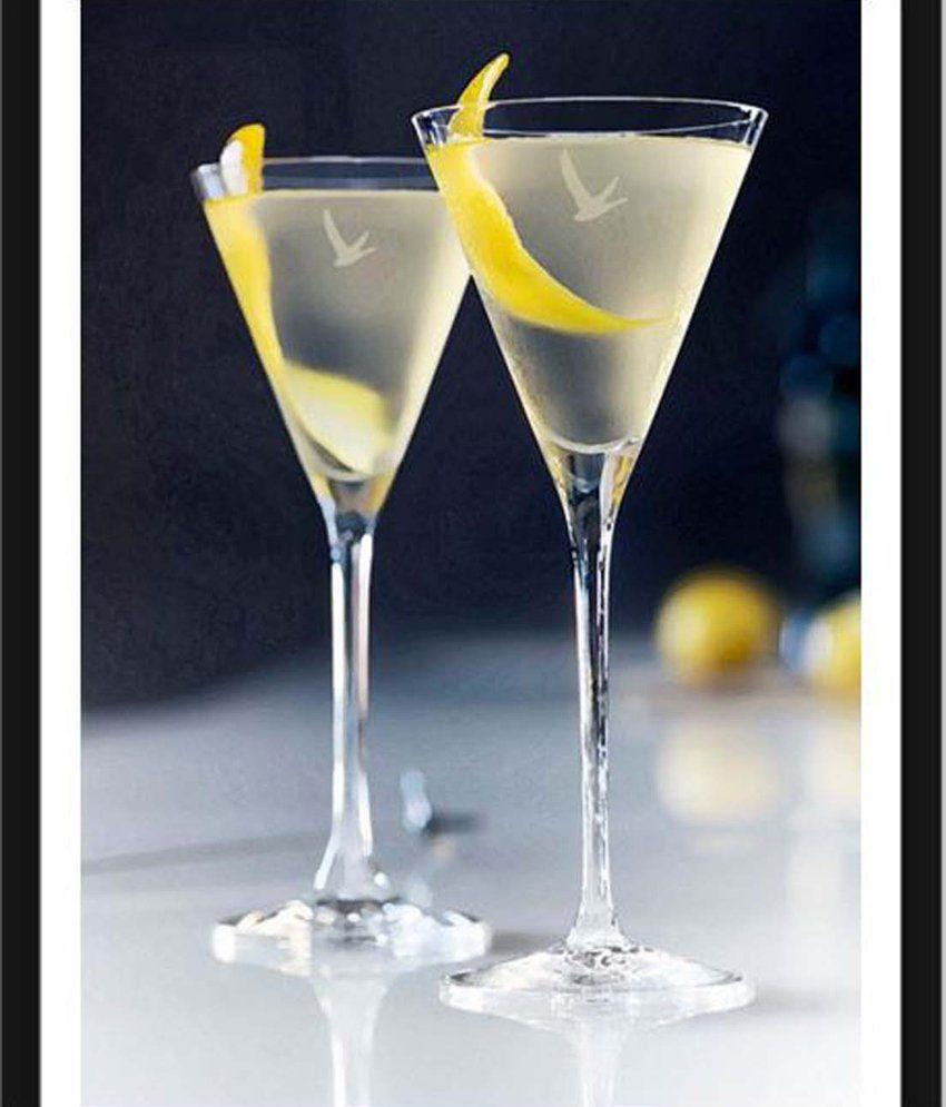 Tallenge Grey Goose Martini With Lemon Slice Painting With Acrylic Frame