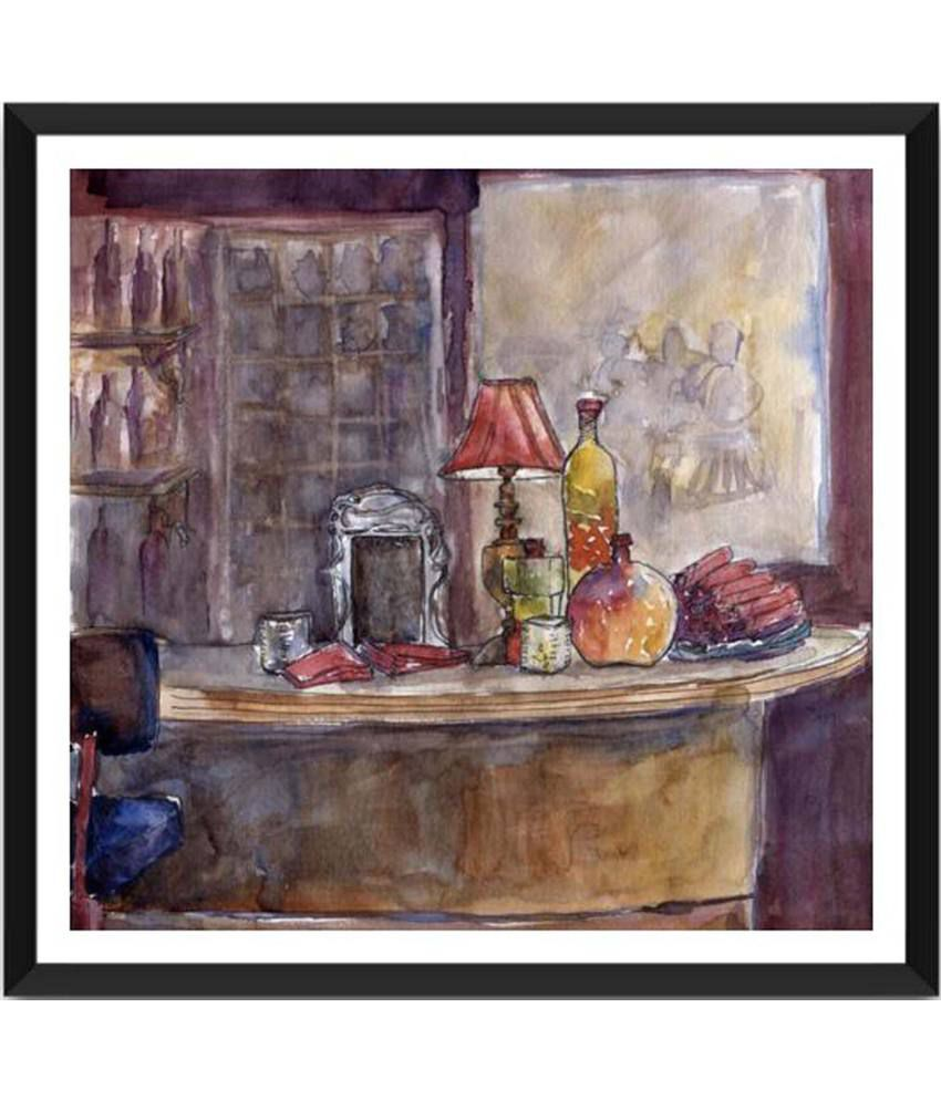 Tallenge The Still-Life Bar In Watercolors Painting With Acrylic Frame