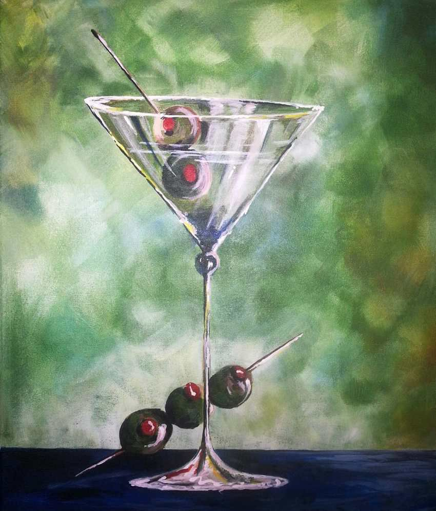 Tallenge Martini & Olives Painting With Wood Frame