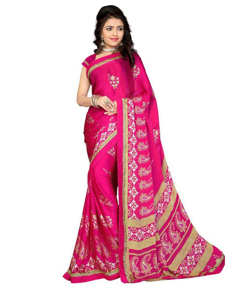 Khushali Pink Satin Saree