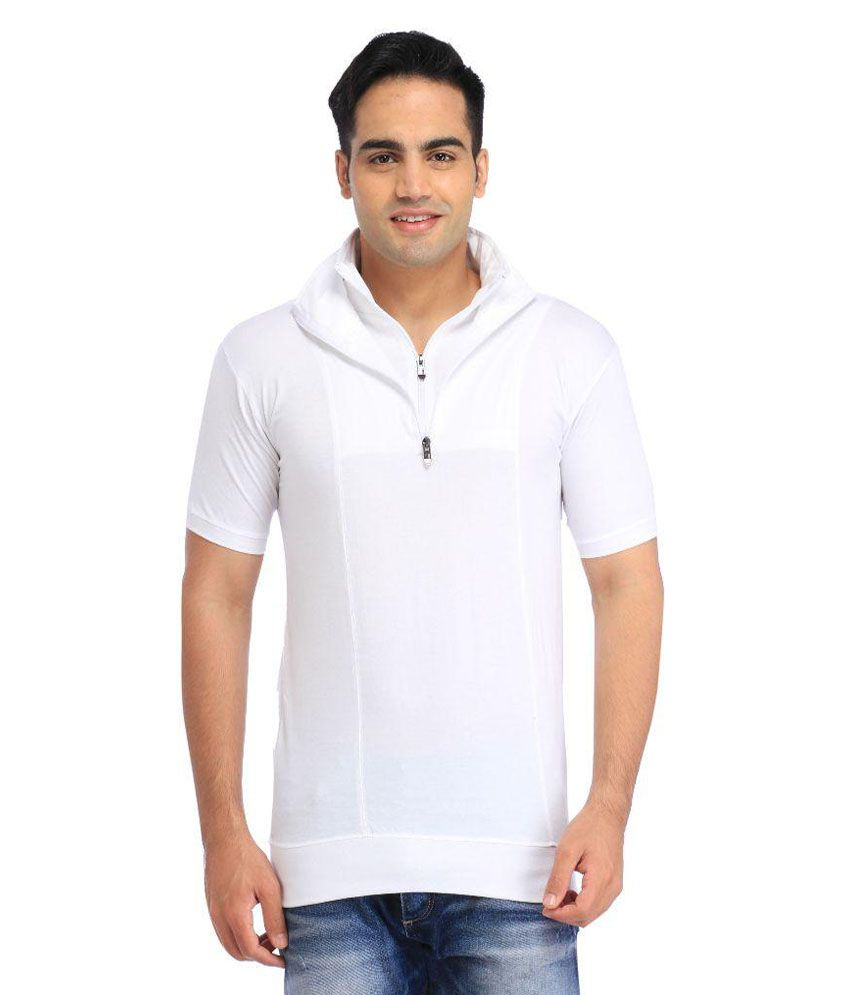 Tees Collection White Henley T Shirts No