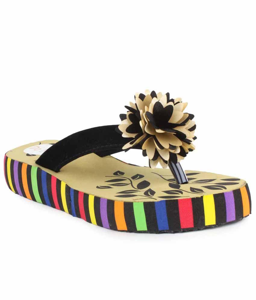 Do Bhai Black Slippers & Flip Flops